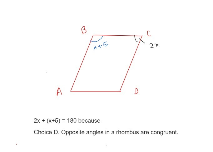 Solution Abcd Is A Rhombus The Measure Of B Is X 5 And The