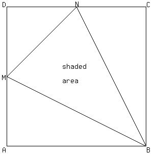 SOLUTION: ABCD is a square with side length x cm. M and N
