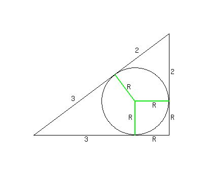Solution a circle is inscribed in a right angle triangle the solution a circle is inscribed in a right angle triangle the circle touches the hypotenuse dividing it in the ratio 32 find the radius of the circle ccuart Images