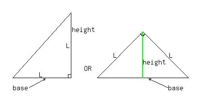 SOLUTION: If the area of an isosceles right triangle is