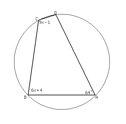 Solution quadrilateral abcd is inscribed in a circle m a is 64 m solution quadrilateral abcd is inscribed in a circle m a is 64 m b is 6x 4 and m c is 9x 1 what is m d ccuart Gallery