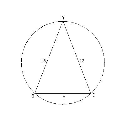 Solution an isosceles triangle whose legs are each 13 is draw in the radii to the vertices extend the vertical radius ccuart Images