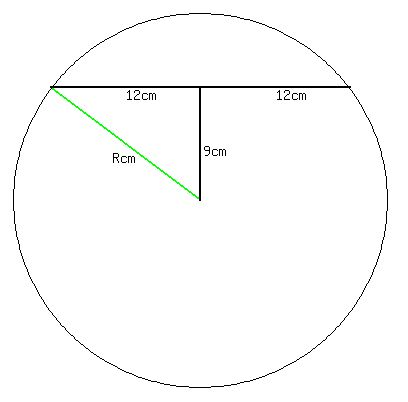 SOLUTION: how to find the radius of a circle if a 24 cm chord is 9 ...