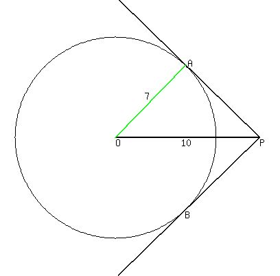 Solution draw a circle with a diameter of 7 cm and a pointp 10cm let the center of the circle be o draw in a radius to one of the points of tangency ill draw oa ccuart Image collections