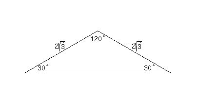 SOLUTION: The angles of the triangle are 30°-30°-120°. Two