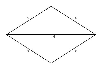 SOLUTION: One diagonal of a rhombus is 14 units and the area of ...