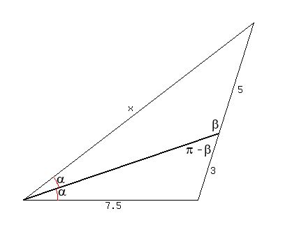 SOLUTION: an angle bisector of a triangle divides the